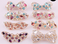 Wholesale Fashion Noble Women s Crystal Rhinestones Hairpin Hair Clip Butterfly Bow Heart Barrettes High Quality Eight Colors Mix Order