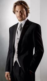 New Style Two Buttons Groom Tuxedos Black Best man Peak Satin Lapel Groomsman Men Wedding Suits Bridegroom (Jacket+Pants+Tie+Vest) J283