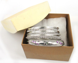 12pc Rhodium plated metal bangle set with Gift Box packing for Women Crystal Bracelets & Bangles