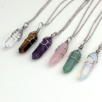 Wholesale Charm Silver Plated Different style precious stone Hexagon Column Winding Stone Pendant Necklace Jewelry