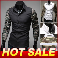 Casual Men Cotton Hot Sale Men Long-Sleeve Shirt Slim Casual Dress Men's Clothing Camouflage Designer Fashion Cotton Shirts Camisas X130