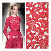 Fabric Acrylic Multi-Colored Free shipping hot VALENTINO-show 120cm embroidery hollow water soluble red lace fabrics dress fabric.