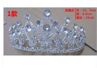 Tiaras White China-Tibet Bridal Tiara Rhinestone Silver Crystal Crown Pageant Prom Veil Headband