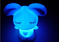 Wholesale New V W creative colorful color cartoon bunny PVC LED Night Light