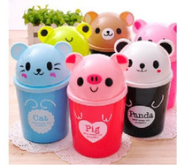 Wholesale Cartoon Animal Plastic mini Table Dustbin Sundries Barrel Lovely Storage Tank Cartoon animal Desktop trash can ash bin garbage