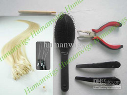 "20"" 200s REMY HUMAN HAIR EXTENSIONS(micro ring loop hair extension #613+ plier+needle+brush+clips)"