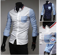Wholesale 2014 spring new arrival fashion shirts cuff collar design men s casual shirts Epacket