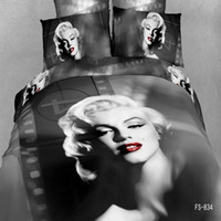 Adult Twill 100% Cotton FS-834 bedding sets 4pcs 100%cotton 3d oil painting black Marilyn Monroe duvet quilt bed covers for king queen size bedclothes comforters