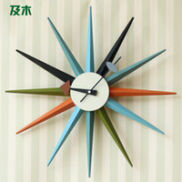 Wholesale And wood furniture living room modern minimalist fashion creative mute grade wood color art wall clock GZ001110038