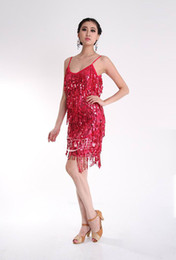 Wholesale New Latin Dance Dress Sequined Fringed Latin Dancewear Night Dress Sexy Performance Costumes Stage Wear A0157