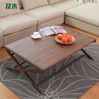 Wholesale Square coffee table and wood furniture shipping fashion creative minimalist modern living room wood coffee table CJ011