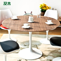 Wholesale And wood furniture modern minimalist Scandinavian fashion leather round the table tulip wood dining table for people CZ006110038