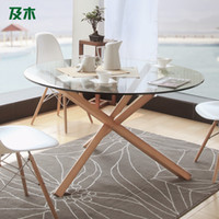 Wholesale And wood furniture modern minimalist fashion creative round glass dining table round wood dining table CZ008110038