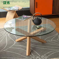 Solid Wood No Dining Tables And wood furniture modern minimalist fashion toughened glass coffee table round wood tripod parlor shipping CJ015110038
