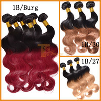 two tone hair extensions - Ombre Hair Weave Virgin Brazilian Hair Body Wave Cheap Human Hair Extensions Ombre Color b burg two tone Remy Hair Weft