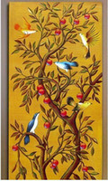 Cheap hand-painted 1 panel set abstract wall art home decoration Gloden Tree Birds oil painting on canvas christmas
