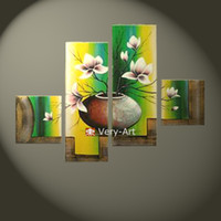Abstract   hand painted modern multi-panel 4 pc group flower oil painting in vase wall art picture home decoration art set