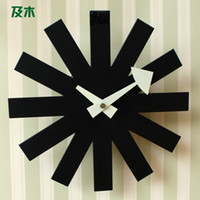 Wholesale And wood bedroom furniture modern Scandinavian minimalist fashion silent classic black metal wall clock GZ002110038