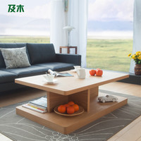 Wholesale Scandinavian furniture and wood rectangular coffee table creative fashion leather minimalist modern living room wood coffee tabl110038