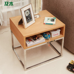 Wholesale 2014 simple and stylish wooden furniture and stainless steel coffee table modern creative side a few small wood CJ010110038