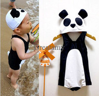Boy One-piece 2-7T China panda style baby boy summer sets boy swimsuit one piece romper with cap Boy Swimwear Children Swimming Trunks Kids Swimsuit