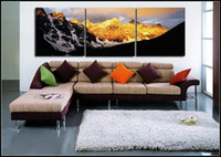 Wholesale Hand painted oil paintings gold mountain wall decoration painting p combination of modern pop