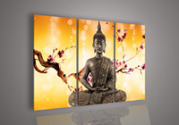 Cheap 3 Piece Wall Art Religion Buddha Orange Oil Painting On Canvas Large Cheap Abstract Print For Home Modern Decoration