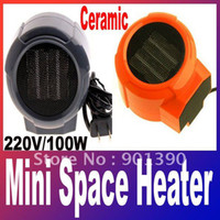 Wholesale Mini Portable Personal Ceramic Space Heater Electric V W Fan Forced Grey Orange Freeshipping