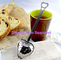 Tea Strainers stainless steel spoon - 200pcs Stainless steel Heart Shaped Heart Shape Tea Infuser Strainer Filter Spoon Spoons Wedding Party Gift Favor