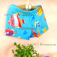 Boy Swim Trunks 6-8T Baby swimming trunks blue underwater world boy boxer swimming pants boy beach clothes summer sport pants boy swimming short cute