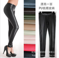 Leggings Skinny,Slim Long winter and autumn NEW fashion sexy women leggings ladies skinny PU leather leggings Plus fleece women trousers pencil legging