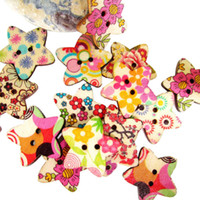 Quilt Accessories Buttons Lace Hot New Arrival 50pcs Mixed Colorful Star Shaped Painted 2 Hole Wooden Buttons HG-04596-50PCS