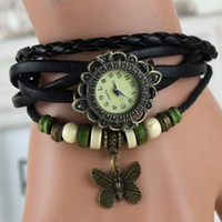 Wholesale PL065 GENUINE Leather Retro Dress Watch Bracelet women Wristwatches butterfly Pendant china watches women wrist watches
