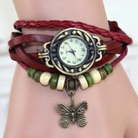 Wholesale PL062 GENUINE Leather Retro Dress Watch Bracelet women Wristwatches butterfly Pendant china watches women wrist watches