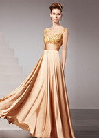 Model Pictures Crew Chiffon Gold Jewel Neck Beading A-line Chiffon Evening Dress For Women elie saab r30 #u7-1Dvl