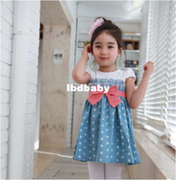 TuTu Summer Ball Gown Wholesale-Girls Baby Kids Toddlers 1PCS Cowboy Blue Polka dot Bowknot Dress Clothes