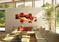 Abstract   5 panel red flame so hot beautiful nude nake sexy girl body oil painting nude hot women wall canvas art