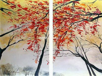 Abstract   Free shipping 2 panels Art handmade red cherry trees oil painting on canvas modern original directly artist qw321