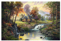 canvas picture frames - printed thomas kinkade landscape oil painting prints on canvas wall art picture for living room home decorations no frame