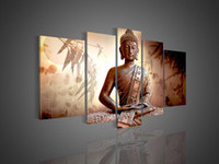 Abstract   5 Panel Wall Art Religion Buddha Oil Painting On Canvas Picture No Frames Glass Paintings Abstract Pictures On The Wall