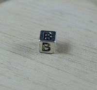 Wholesale Hot Tibetan Silver Alphabet Letter quot B quot Cube Square Large Hole Beads Fit European Charm Bracelets