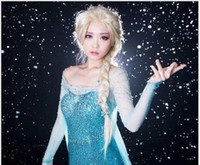 Wholesale hot sale Frozen most popular cartoon girl Hair Wigs children Cosplay Wigs Elsa princess white fluffy long hair single plait ponytail
