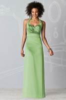 Reference Images Sleeveless Halter Halter Sweetheart Ruched Column Satin Lime Green Bridesmaid Dresses