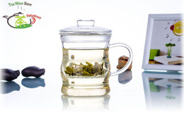 Wholesale 8 fl oz ml Bamboo Joint Heat Resisting Clear Pyrex Glass Flower Tea Pot Water Coffee Cups Bottle Kettle teapot with infuser Lid handle