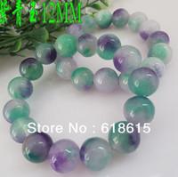 Wholesale Free shiping SJ0551 ore stone purple green jade radiation protection bracelets top quality
