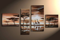 More Panel Oil Painting Abstract hand-painted wall art Grassland deer Decoration Modern Abstract landscape Oil Painting on canvas 4pcs set