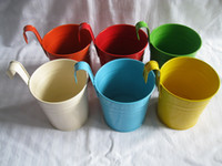 Wholesale Multi Color Metal Plant Flower Pot Hook Planter Hanging Buckets wall hanging planter flowerpots balcony flower tub