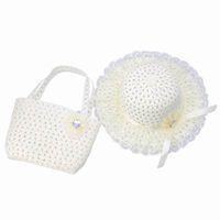 Precio de Sombrero de paja del sol-Los niños de las muchachas del sombrero de paja + bolso determinado del verano blanco como la leche ocasional de viajes Beach Sun casquillos con la flor DVK5 * 1