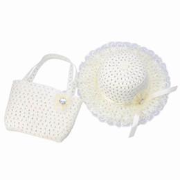 Скидка заходящее солнце Дети Девушки соломенной шляпе + сумка Set Summer молочнобелый Повседневный Travel Beach Sun Caps с цветком DVK5 * 1