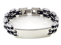 Wholesale Mens ID Stainless Steel Bracelet Silver Link Chain Black Rubber Wristband Gift B315